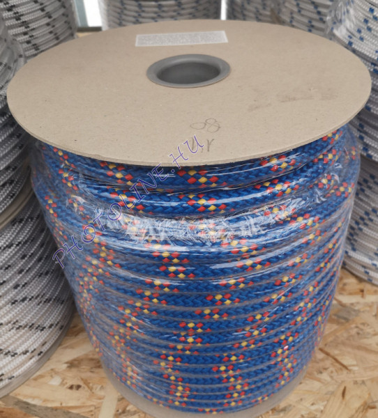 PP fonatolt kötél kék, 18 mm, piros+sárga jelölőszínnel
