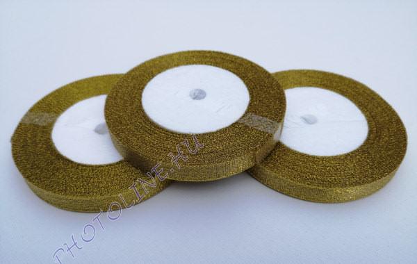 Szatén szalag arany színű, 6 mm széles, 100 m/tekercs