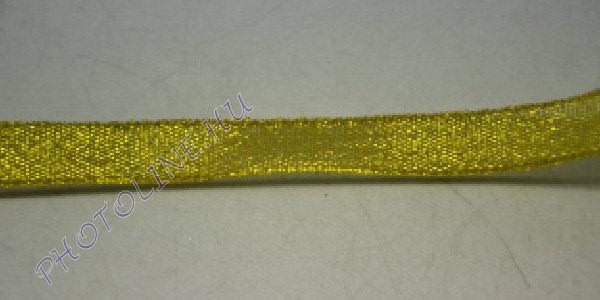 Szatén szalag arany színű, 12 mm széles, 20 m/tekercs