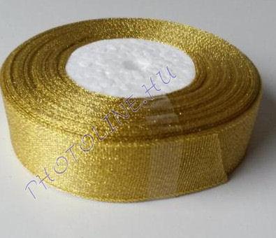 Szatén szalag arany színű, 15 mm széles, 50 m/tekercs