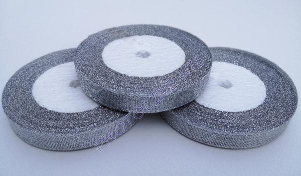 Szatén szalag ezüst színű, 6 mm széles, 100 m/tekercs
