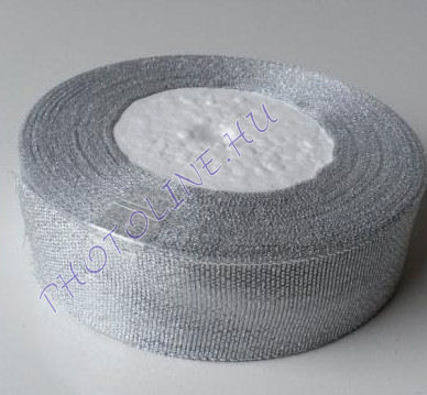 Szatén szalag ezüst színű, 15 mm széles, 50 m/tekercs