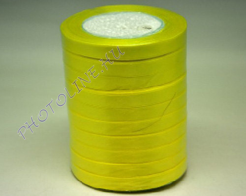 Szatén szalag 10 mm, 22 m/tekercs, sárga