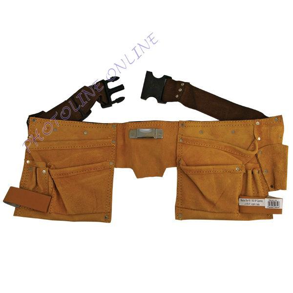 Szerszámtartó öv, sok zsebes, hasított bőr, műanyag csattal (416)