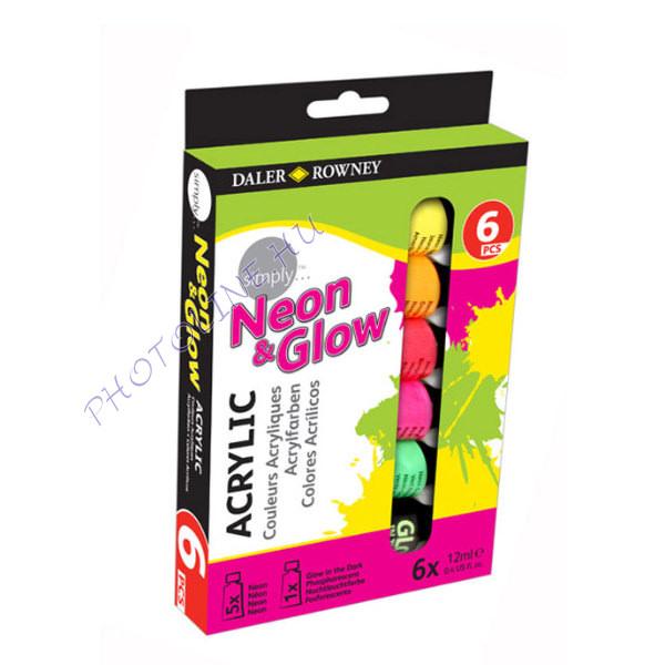 Akril festék készlet 6x12 ml, neon színek és foszforeszkáló festék