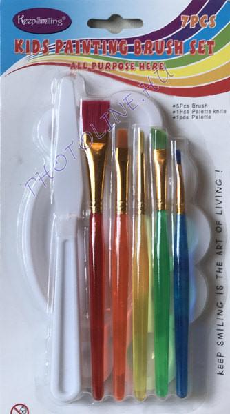 Festőkészlet gyermek, 7 részes: ecset, spatula és keverőtál