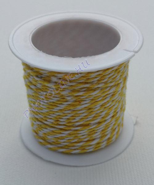 Zsinór világossárga-fehér színben, mérete: 1 mm, 10m/tekercs
