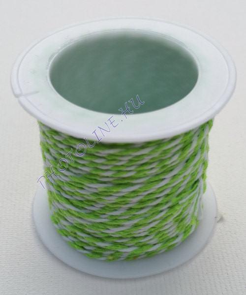 Zsinór világoszöld-fehér színben, mérete: 1 mm, 10m/tekercs
