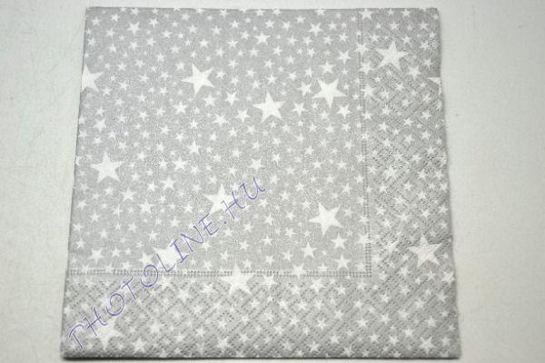 3 rétegű szalvéta ezüst apró csillagokkal