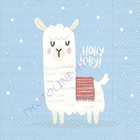 3 rétegű szalvéta láma Holly Jolly mintázattal