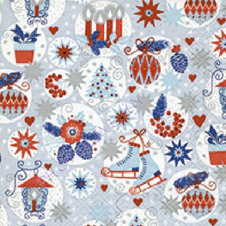 3 rétegű szalvéta karácsonyi gömbök mintázattal