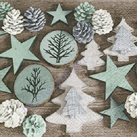 3 rétegű szalvéta karácsonyi hangulat, tobozok, fenyődíszek mintázattal