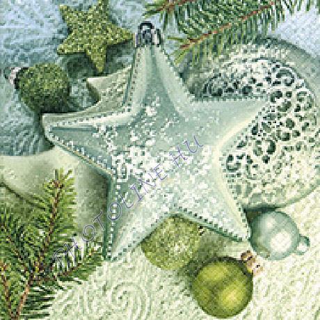 3 rétegű szalvéta csillag, fenyődísz mintázattal, zöld színben
