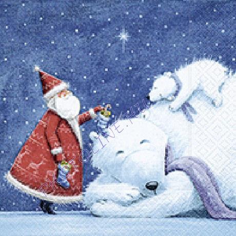 3 rétegű szalvéta jegesmedvék, mikulás mintázattal