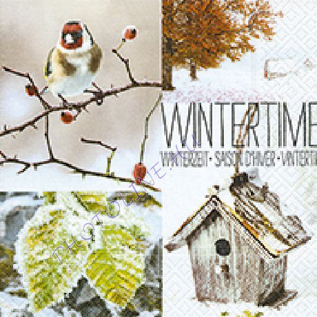 3 rétegű szalvéta wintertime, téli hangulat madár és házikó mintázattal