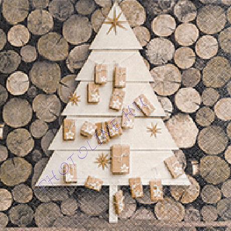 3 rétegű szalvéta fahasábok, adventi fenyőfa mintázattal