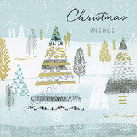 3 rétegű szalvéta christmas wishes, fenyőfák mintázattal
