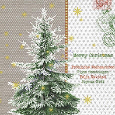 3 rétegű szalvéta fenyőfa, karácsonyi üdvözlet mintázattal