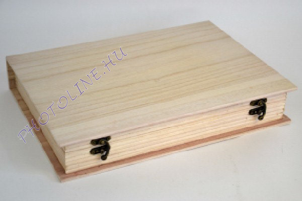 Fa doboz könyv formájú, A4 belső mérettel