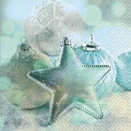 3 rétegű szalvéta türkiz csillag és gömbök