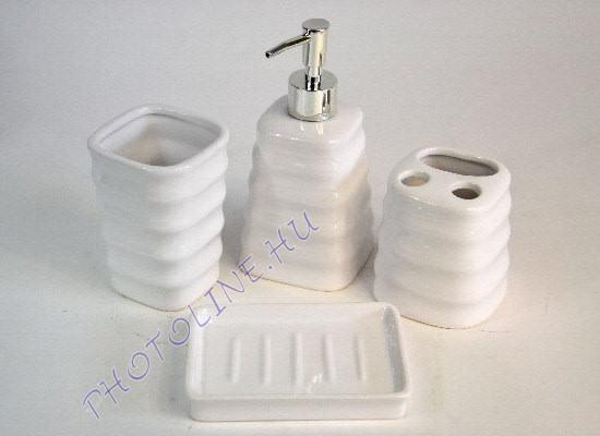 Fürdőszoba kerámia szett, 4 részes fehér, BAMBUSZ MINTÁS