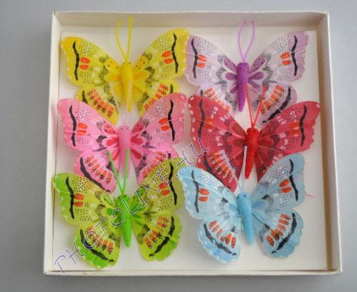 Pillangók színes, tollból, 6 db, I.