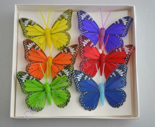 Pillangók színes, tollból, 6 db, II.