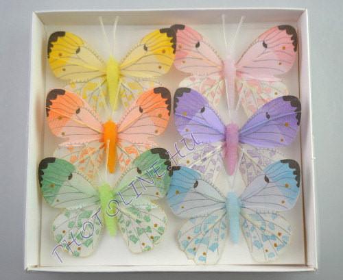 Pillangók színes, tollból, 6 db, V.