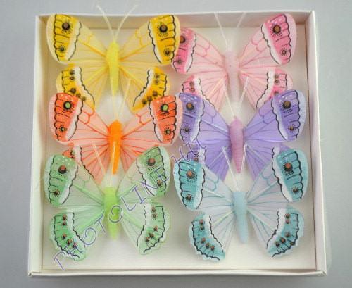 Pillangók színes, tollból, 6 db, VI.