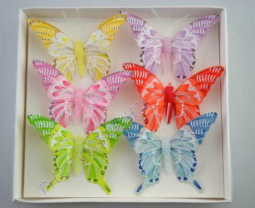Pillangók színes, tollból, 6 db, VII.