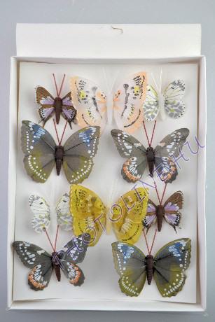 Pillangók színes, tollból, 10 db, II.