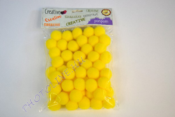 Pompon sárga színben, mérete: 25mm 50db/csomag