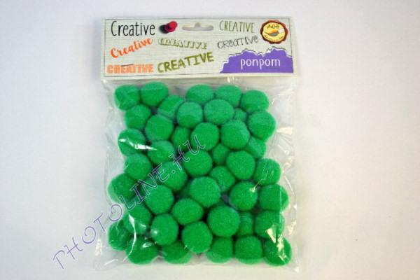 Pompon sötétzöld színben, mérete: 25mm 50db/csomag