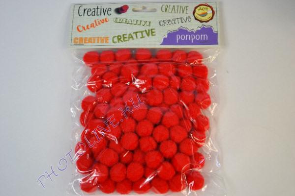 Pompon piros színben, mérete: 15mm 100db/csomag