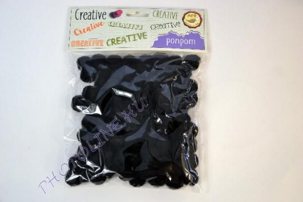 Pompon fekete színben, mérete: 15mm 100db/csomag