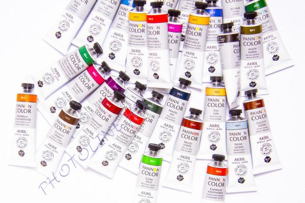 Pannoncolor akrilfesték készlet 12 színű+7 db kiegészítő, DÍSZCSOMAG