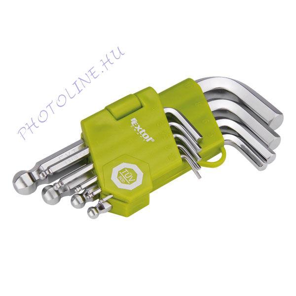 Imbuszkulcs készlet rövid, Cr40 gömbfej, 9db, 1,5-10mm