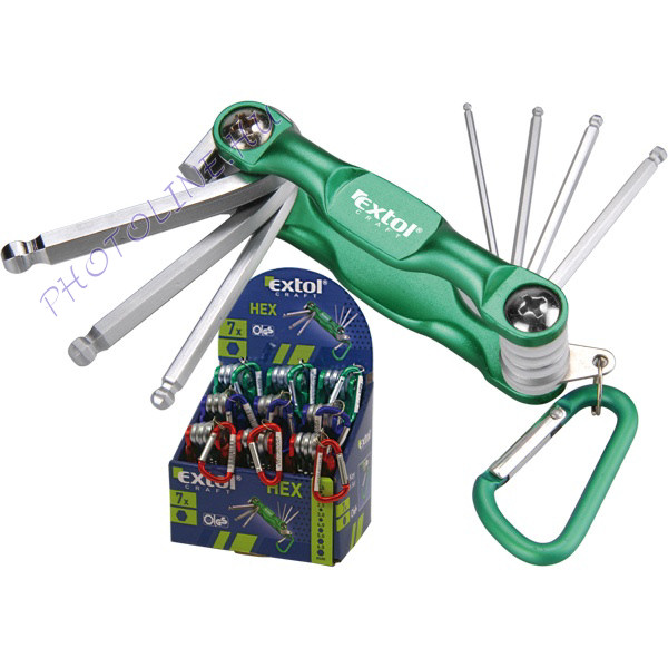 HEX kulcs bicska, Cr40, 7db, 1.5-6mm, karabínerrel