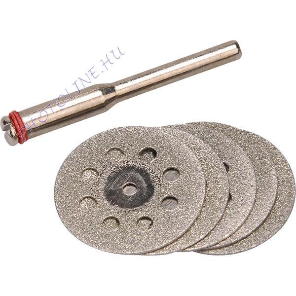 Mini gyémántvágókorong készlet, 22×0,6mm, 6db, tengelycsap: 3,2mm
