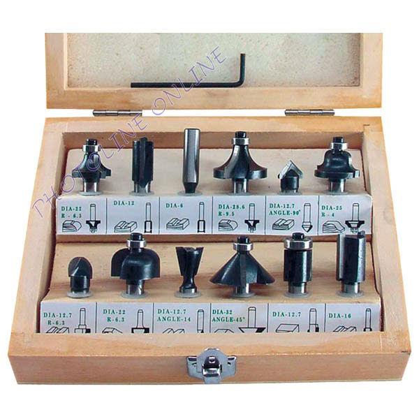 Felsőmaró klt., 12db-os, kisebb szett, fadobozban 8mm-es befogással, keményfém lapkás, csapágyas (44032)