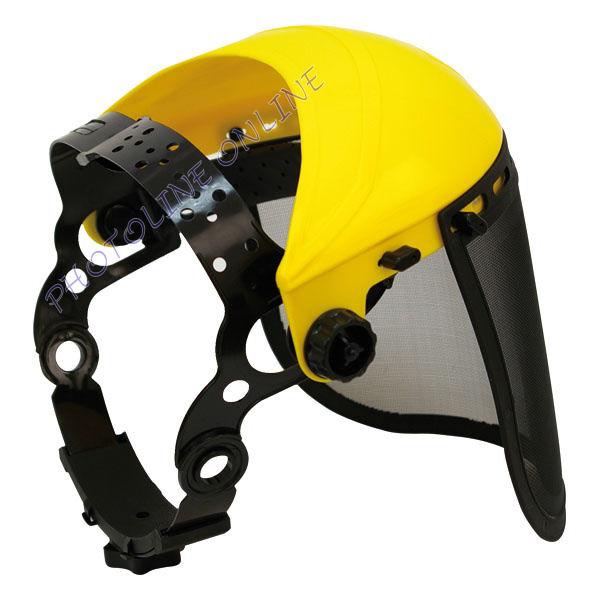 Sárga arcvédő pajzs homlokpánttal (rácsos betét való hozzá)