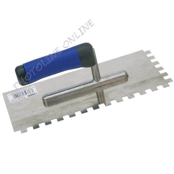 Glettelőkanál rozsdamentes csempéző, SOFT gumi nyél 13×27cm, 10x10mm