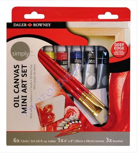 Művész olajfestő készlet 12ml*6 szín, 3 ecset+vászon, Daler-Rowney