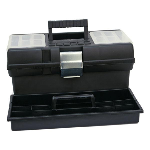 Szerszámosláda műanyag, 41×22×21 cm, lakatolható (felül fehér betéttel)