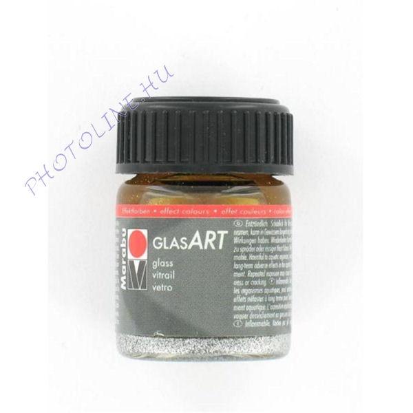 Marabu GlasART oldószeres festék, glitter EZÜST 15ml