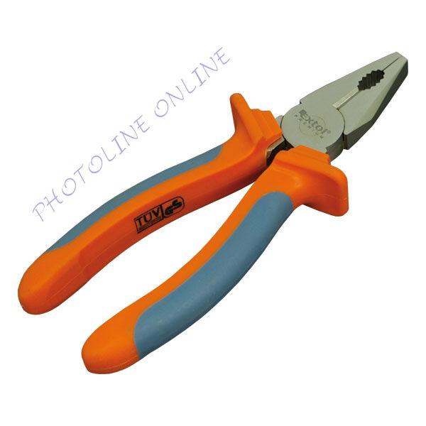 Kombinált fogó duál narancs/kék, TPR nyél 180mm, TÜV/GS (8813110)
