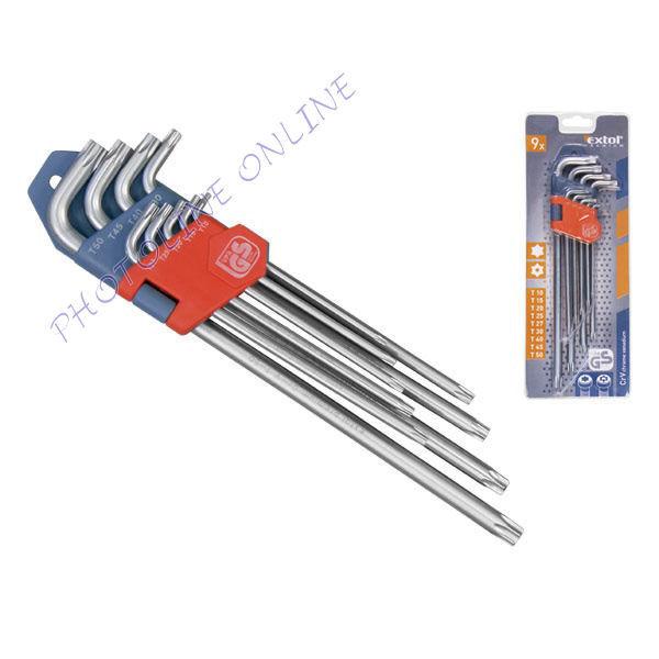 Torx kulcsok 9db,  T10, T15, T20, T25, T27, T30, T40, T45, T50 (8819412)