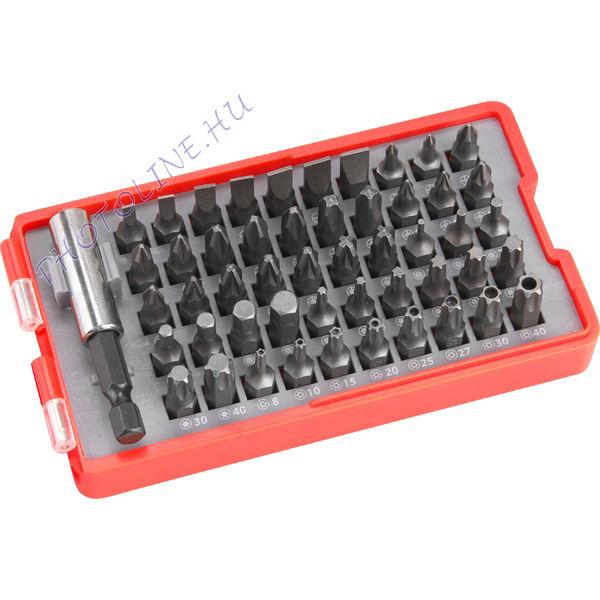Behajtó készlet 51 db CrV, lapos: 3-7mm, PH0-3, PZ0-3, HEX 1,5-6mm, kétféle torx 8-40