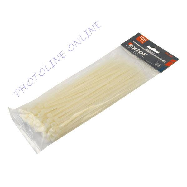 Gyorskötöző, kábelkötegelő, 100db-os, fehér nylon 4,8x250mm (8856110)