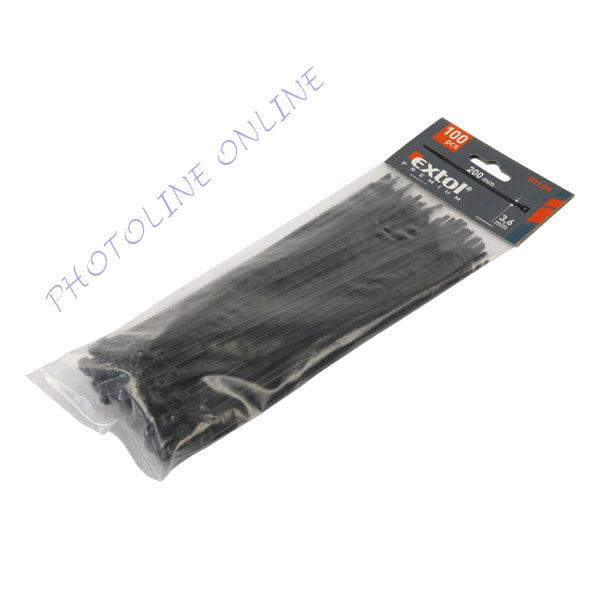 Gyorskötöző, kábelkötegelő, 100db-os, fekete nylon 3,6x200mm (8856156)